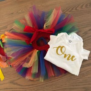 12 month rainbow baby 1st birthday outfit 🌈